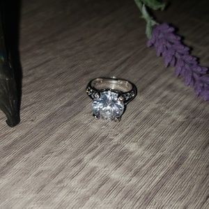 Sz 6.5 Silver plated Cubic Zirconia Ring
